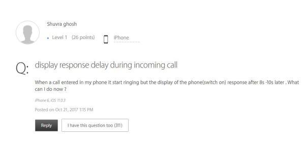 苹果官方支持页面上的用户留言。
