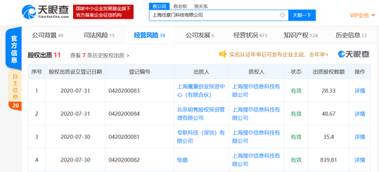 Soul关联公司新增多条股权出质信息
