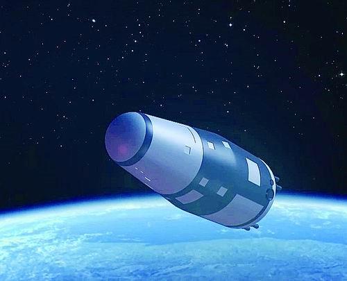 2016年4月6日1时38分,我国首颗微重力科学实验卫星——实践十号返回式科学实验卫星,在酒泉卫星发射中心由长征二号丁运载火箭发射升空,进入预定轨道,图为实践十号卫星在轨模拟图。新华社发(中科院供图)