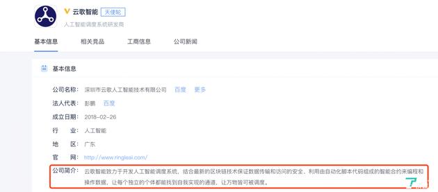 云歌智能公司的基本信息@图片来源企名片