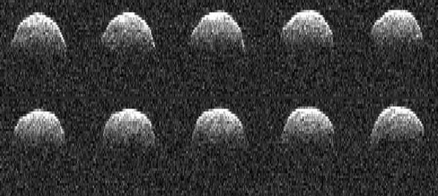 美国宇航局深空网戈德斯通天线雷达获取的近地小行星贝努的雷达图像。这颗小行星也是美国宇航局Osiris-Rex小行星计划的目标