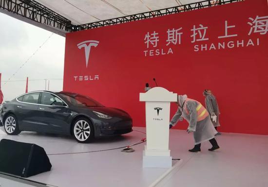 2019年1月7日,特斯拉上海超级工厂(一期)奠基仪式现场(图片来源:每经记者 黄鑫磊 摄)
