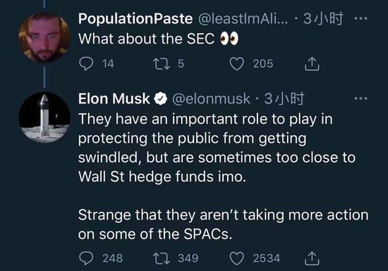 马斯克质疑SPAC上市模式:SEC有时和华尔街对冲基金过于亲近