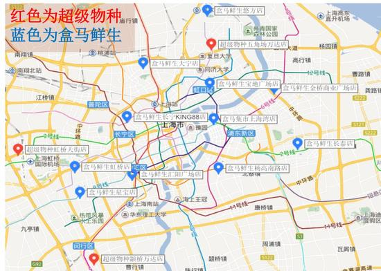 盒马鲜生和超级物种在上海的门店分布图
