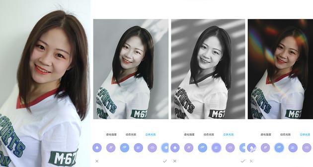 左为使用AI人像模式,右三张图为影棚光效