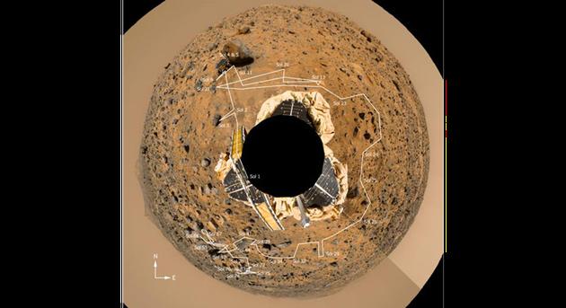 火星探路者號着陸器傳回的圖像被拼接在一起,形成了一幅奇怪的全景圖