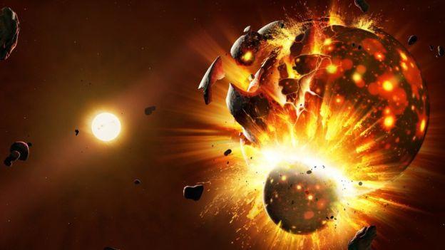 图中是艺术家描绘的行星诞生,他们猜测行星形成于一系列碰撞过程