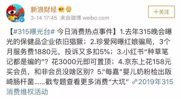 ▲新浪财经315曝光台排名 来源:微博截图