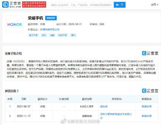 荣耀手机被联合收购 斥资6.6亿元