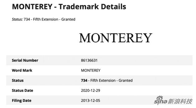 苹果去年12月续约了Monterey这名字
