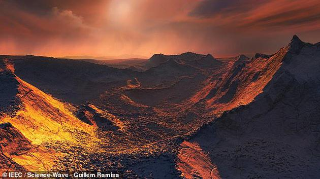 """""""巴纳德b(GJ 699 b)""""是近期发现环绕巴纳德恒星运行的一颗超地球行星,巴纳德恒星是距离地球第二大最近的恒星系统。这颗行星被认为非常寒冷,表面温度类似于木卫二,大约零下150摄氏度。"""