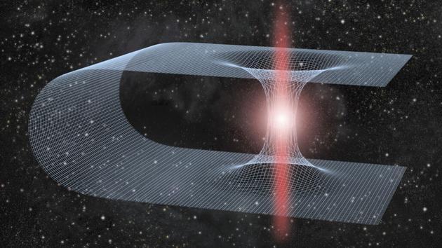 蟲洞是穿越時空的隧道,連接着宇宙的不同部分(概念圖)。美國物理學家報告稱,圍繞蟲洞旋轉的黑洞可能會釋放出一種新的引力波模式