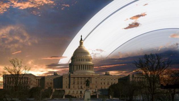 如果你在美国华盛顿,地球的环看上去就像一道奇特的彩虹。