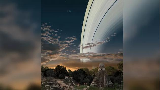 如果地球也有土星那样的环,这将是从危地马拉看到的情景。
