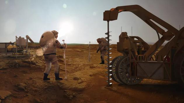 宇航员在火星上找水