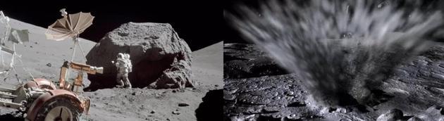 左图:阿波罗17号的科学家宇航员哈里森 · 施密特在一块巨石附近开展工作;右图:月球表面撞击的模拟场景。