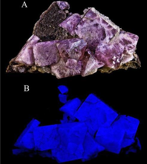 萤石矿物的荧光性(图片来源:wikimedia.org)