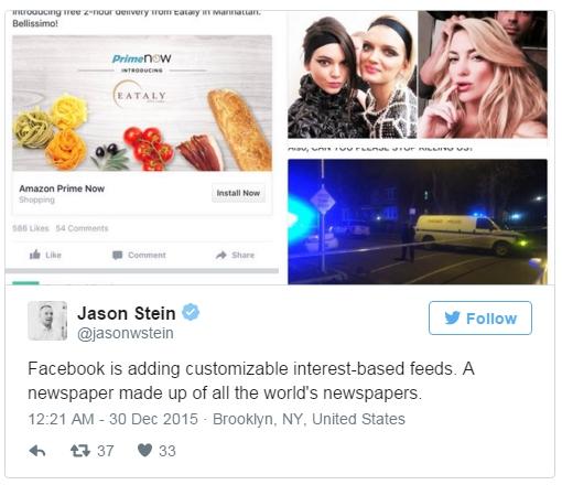 Facebook测试新功能:根据用户兴趣推送信息流