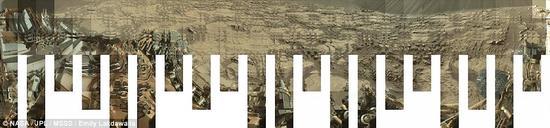 在地平线附近,运用了30帧由'桅杆相机'拍摄的独立画面来实现火星车周围360度全覆盖。