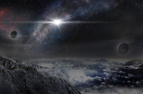 史上最强超新星爆发ASASSN-15lh的想像图。该图示意了从超新星宿主星系中一颗距离ASASSN-15lh约1万光年的行星上观看ASASSN-15lh爆发的情景。(图片制作:北京天文馆马劲)