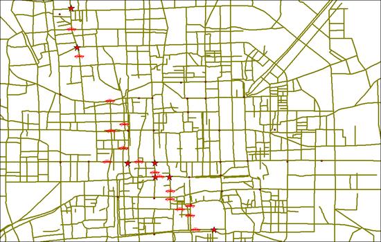 利用蚁群算法计算的真实的最短路径[5],该地图为北京市地图。