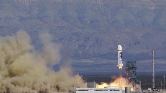 """本次发射使用的""""新谢帕德""""火箭(New Shepard)完全就是去年11月份实现首飞并回收的那一枚,从而成功展示了火箭的重复利用技术"""