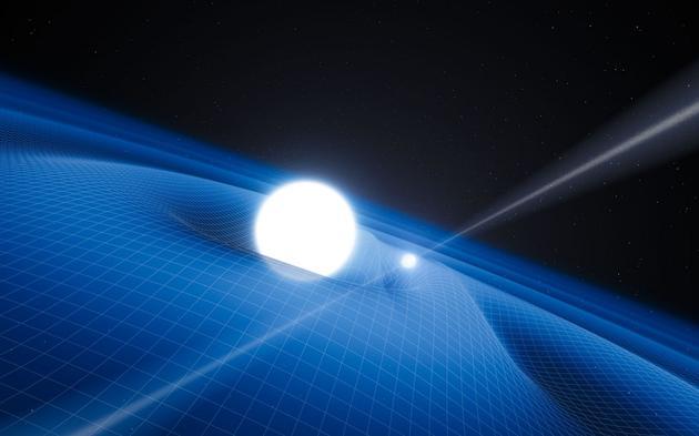 一个脉冲星双星系统及其产生的时空涟漪(引力波)示意图