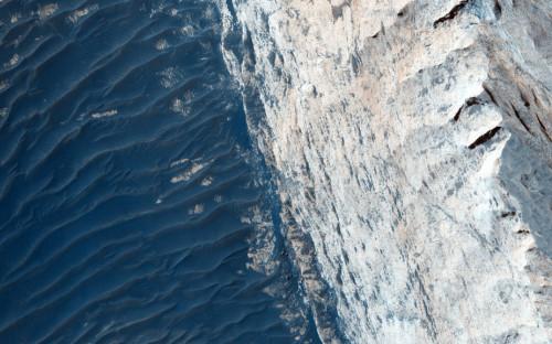 火星地表峡谷照片,层叠起伏,宛如海洋。