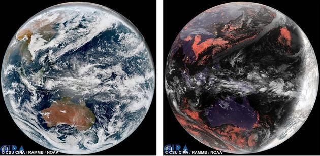 """大气研究合作研究所(CIRA)公布了一张地球在真实色彩下和""""地质色彩""""下的对比图。在地质色彩中,白雪覆盖的地方是白色的,月光笼罩下的地面是紫色的,大多数城市的灯光是黄色的,不过阳光照射下的地面和浅水区域看上去则是它们真正的颜色。"""