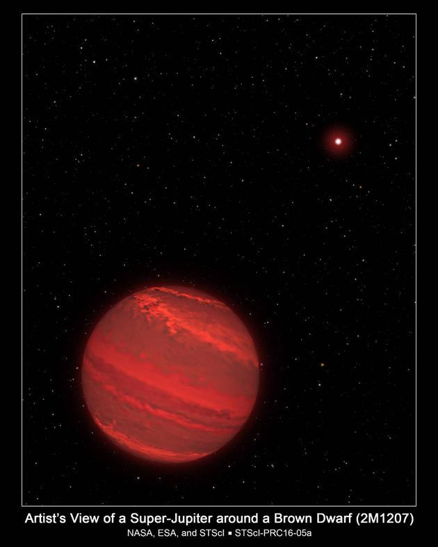 """这是一张艺术示意图,展示了一颗质量大约为木星4倍的系外行星,它和一颗距离它大约80亿公里的褐矮星(右上方远处明亮的星球)共同组成一个""""双星系统""""。该系统距离地球大约170光年,从这里看去,我们的太阳只是一颗毫不起眼的微小光点"""