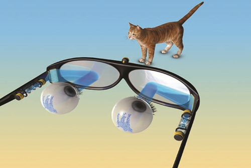 通过光遗传学方法治眼疾的眼镜假想图
