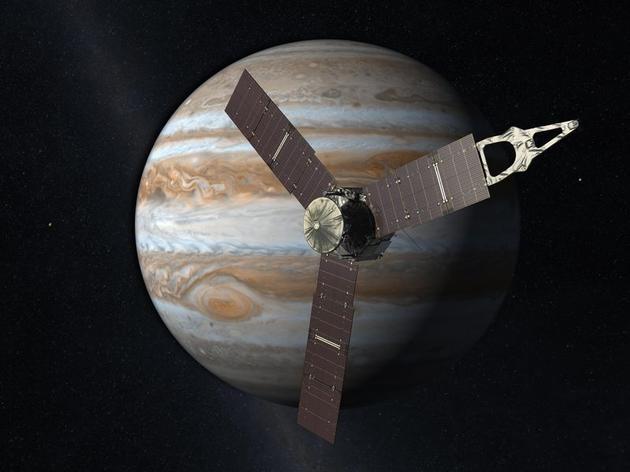 """美国宇航局""""朱诺""""探测器抵达木星示意图"""