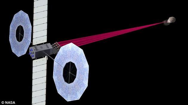 """另一个较小规模的系统""""DE-STARLITE""""也在开发之中。研究者希望该系统能与有潜在威胁的小行星""""并肩""""飞行,在一段相对较长的时间里使其飞行路线发生偏移。"""