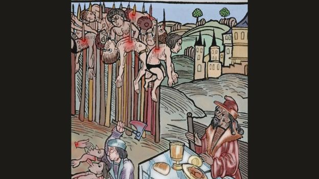 弗拉德·采佩什(Vlad Tepes)用尖头木桩刺死了许多敌人