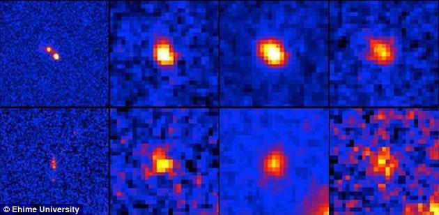 天文学家们发现那些形成于宇宙早期的星系实际上可能是由多个较小的单独星系聚拢在一起所形成的观测视错觉。图为望远镜拍摄的8个此类星系目标,实际上它们很有可能是由两个或更多个较小的单独星系聚拢而成的