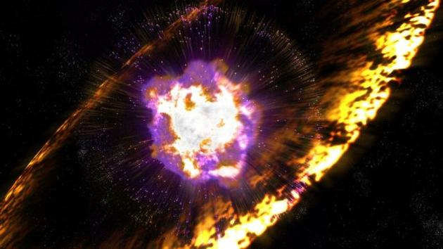 超新星即恒星燃料耗尽之后发生的巨大爆炸。