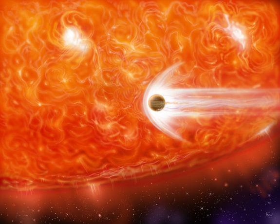 艺术示意图:当恒星膨胀为一颗红巨星时吞噬旁边的一颗气态巨行星。太阳也是一样,当太阳成为红巨星时,其体积将大大膨胀,将水星、金星和地球吞入其中彻底摧毁