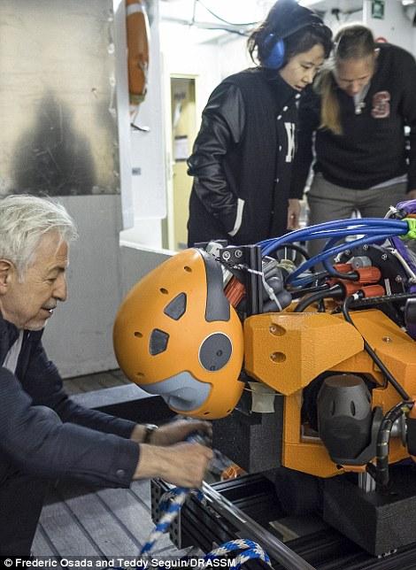 """该机器人有两条灵活的胳膊,还有一块作为""""尾巴""""的区域,电池、计算机和八台多方向推进器就安装在这里。"""