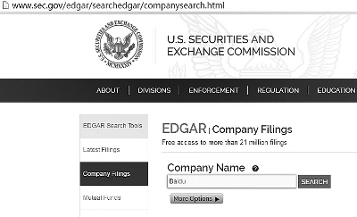 美国证券交易委员会官网上可查询到每年的百度年报