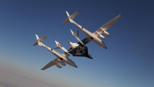 在从母舰机脱离之后,太空船2号将利用火箭助推器快速进入太空