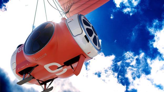 """""""世界景观""""(World View)公司的载人舱将使乘客有两小时时间,在距离地面30千米的高度欣赏地球"""