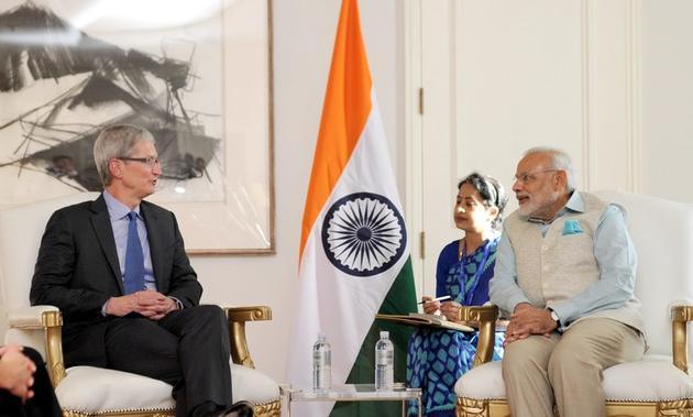 库克与访问硅谷的印度总理莫迪会谈