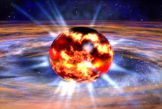 当一颗大质量恒星临近生命的终末,其内核部分在强大引力作用下发生塌缩,原子核的质子和电子被挤压结合,从而形成自然界中最神奇的现象之一——中子星