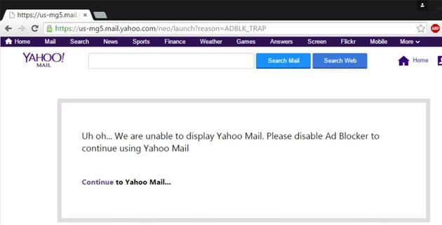雅虎邮箱在去年禁止了广告屏蔽插件