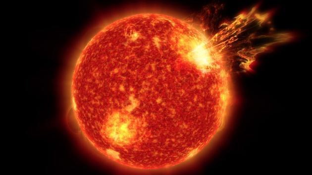 艺术构想图:超级太阳风暴。