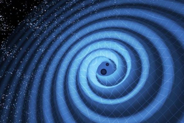 这张示意图展示的是黑洞合并过程产生的时空涟漪——引力波,其正从合并发生区域向周围空间传播。此次LIGO探测到的黑洞合并事件牵涉到两个质量分别为14倍和8倍太阳质量的黑洞,它们合并之后形成了一个质量为21倍太阳质量的新黑洞