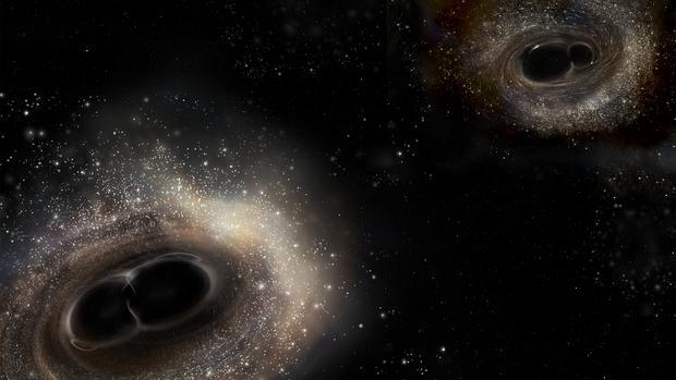 艺术示意图:LIGO探测到两个正在合并过程中的黑洞