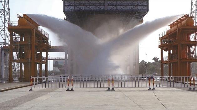 发射台喷水实验(图片来自刘涵)