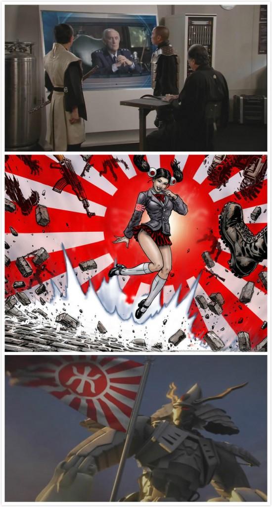 """我们可以看到穿着很""""星战""""风格和服、和武士盔甲风格的日方角色、水手服少女、武士盔甲和机器人的组合"""