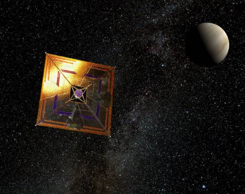 太阳帆探访遥远的行星或恒星系统的概念图。图片来源:Andrzej Mirecki / Wikimedia Commons